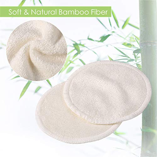 Makeup Remover Pads Reusable 20 Packs-Natural Bamboo Cottons Facial Skin Caring Pads-Face Cleaning Clothes Wipes Machine Washable With Laundry Bag by AMOGO (Image #1)