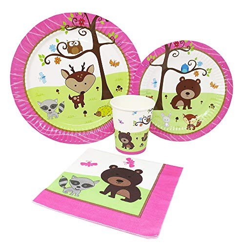 Blue Orchards Woodland Girl Standard Party Packs (65+ Pieces for 16 Guests!), Girl's 1st Birthday Tableware, Girl Baby Shower Supplies, Woodland Themed -
