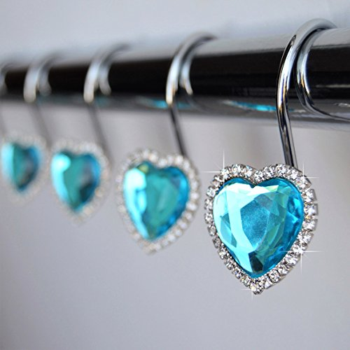 Shower Curtain Hooks Rings - Heart Turquoise Blue Decorative Crystal Diamond Bling Rhinestones Bathroom Bath Set Gift Valentine Girl (Blue Turquoise)