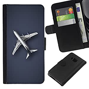 KingStore / Leather Etui en cuir / HTC One M9 / Llanura Avión