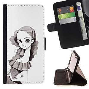 Stuss Case / Funda Carcasa PU de Cuero - Retrato de la niña del dibujo de lápiz de Big Eyes Flaco - Sony Xperia Style T3