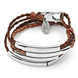 Lizzy James Mini Addison Braided Leather Wrap Bracelet with Silverplate Crescents in Natural Antique Brown Leather (Small)