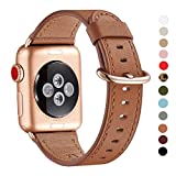 WFEAGL Compatible iWatch Band 40mm 38mm, Top Grain Leather Band with Gold Adapter (The Same as Series 5/4/3 with Gold Aluminum Case in Color) for iWatch Series 5/4/3/2/1 (Brown Band+Rosegold Adapter)