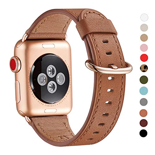 Brown Watch Band Gold Clasp - WFEAGL Compatible iWatch Band 40mm 38mm, Top Grain Leather Band with Gold Adapter (The Same as Series 4/3 with Gold Aluminum Case in Color) for iWatch Series 4/3/2/1 (Brown Band+Rosegold Adapter)