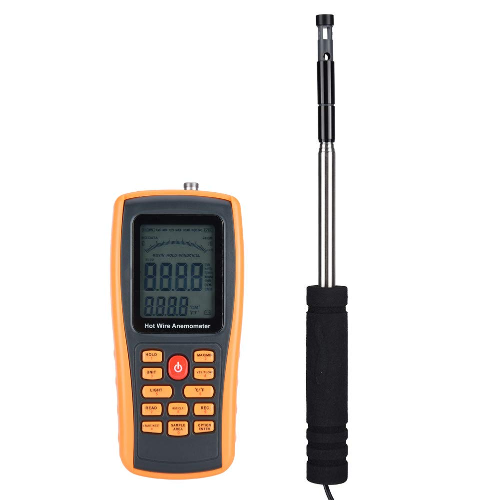 Digital Handheld Wind Speed Meter Anemometer Hot Wire Temperature Portable for Model Aircraft Sailing Surfing Hand Gliding