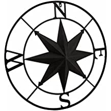 Distressed Finish 26 Inch Diameter Compass Rose Nautical Wall Hanging Metal Wall Sculptures Brown