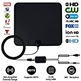 HDTV Antenna, Indoor Amplified TV Antenna, 50 Mile Range 1080p Digital HD Antenna with Detachable Amplifier Signal Booster,13.2 FT High Performance Coax Cable - Upgraded Version Better Reception