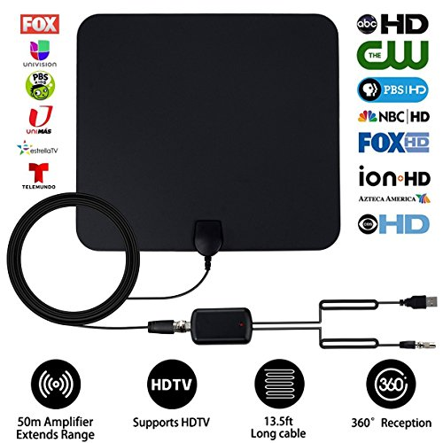 [ 2019 Upgraded Version Better Reception] HDTV Antenna Indoor Amplified Digital TV Antenna, 80 Mile Range 1080p HD Antenna with Detachable Amplifier Signal Booster,13.2 FT High Performance Coax Cable
