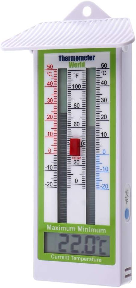 Termómetro digital con temperatura máxima y mínima, para el jardín, el invernadero, exteriores e interiores, Calificación IP65: Amazon.es: Jardín