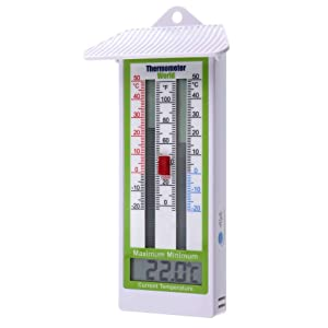 Digital Max Min Greenhouse Thermometer Classic Design Max Min Thermometer for Use in The Garden Greenhouse or Home Easily Wall Mounted Greenhouse Temperature Monitor