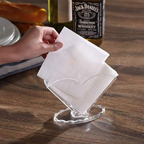 Sooyee Deluxe Clear Acrylic Decorative Square Cocktail Napkin Holder Stand Desktop,Modern Kitchen Napkin Rack