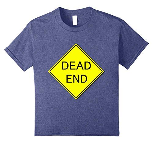 Last Minute School Appropriate Halloween Costumes (Kids Dead End Sign Simple Easy Halloween Costume T-Shirt 8 Heather Blue)