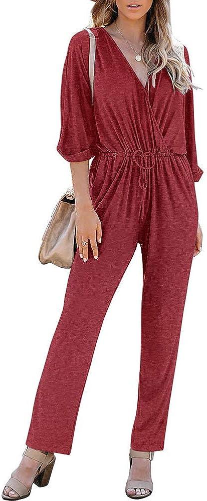 REORIA Women's Casual Deep V Neck Long Sleeve Wrap Drawstring Waist Pants Romper Harem Jumpsuits