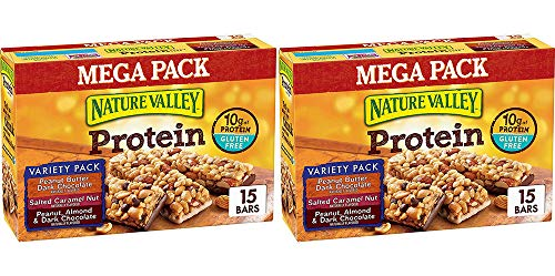 Nature Valley Peanut Butter Dark Chocolate, Salted Caramel Nut, Almond & Protein Chewy Bars, 15 Bars (2 Boxes) by Nature Valley (Image #1)