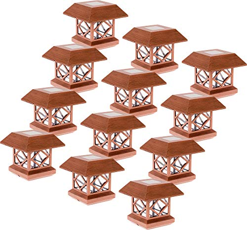Solar Light Post Caps - GreenLighting Outdoor Summit Solar Post Cap Light for 4x4 Wood Posts 12 Pack (Brushed Copper)