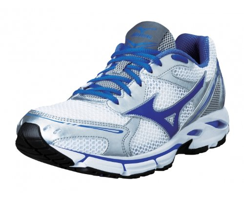 MIZUNO Wave Resolute Ladies Running Shoes, White/Silver/Blue, UK4