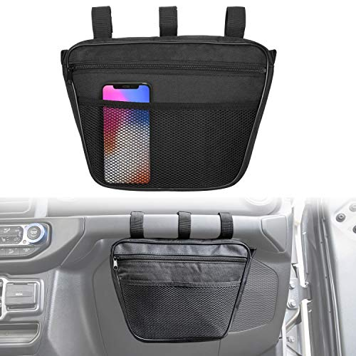 Opall Passenger Grab Handles UV Protected Polyester Dash Bag-Pouch Storage Bag for 1965-2019 Jeep Wrangler JK,TJ,YJ,CJ, JL (Black)