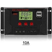 Tickas Controlador de Carga Solar, Controlador de Carga Solar 10A,Controlador de Panel Solar Pantalla LCD Ajustable de…