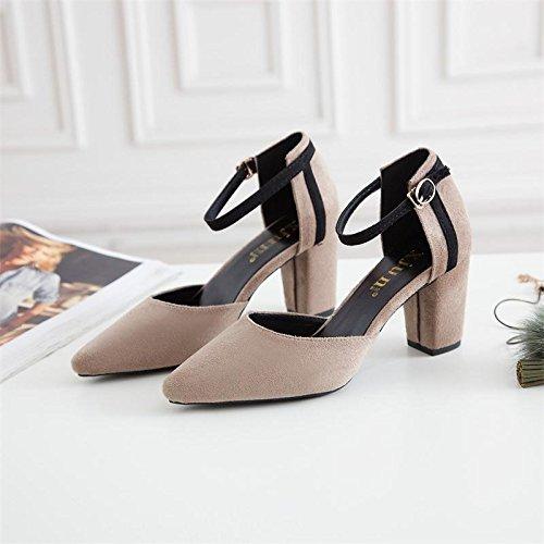 Xue Qiqi Geschlitzte Riegel Schuh_bold mit Spitze satin geschlitzten Binden einzelne Schuhe weiblichen Paket mit hohlen hochhackigen Sandalen Weiblich
