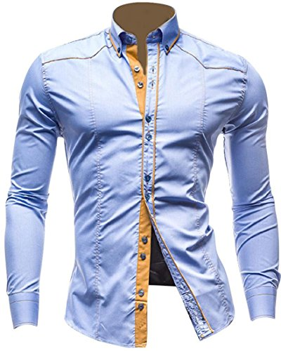 jeansian Men's Slim Solid Long Sleeves Dress Shirts Tops 3 Colors 8695 LightBlue M