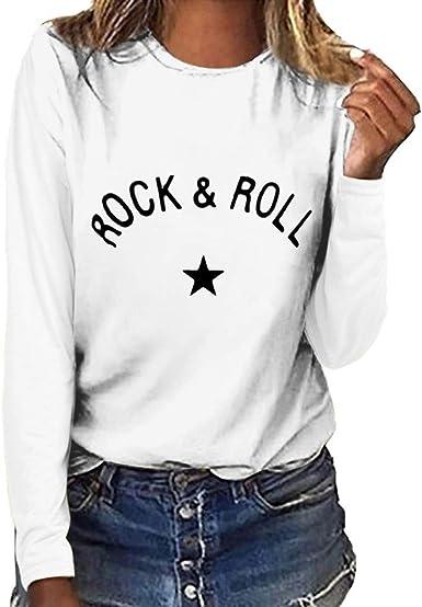 Camisetas para Mujer Manga Largas Basicas Otoño Tallas Grandes 2019 PAOLIAN Camisetas Mujer Invierno Cuello Redondo Estampados Blusas Casual Mujer Elegante Top Vestir: Amazon.es: Ropa y accesorios