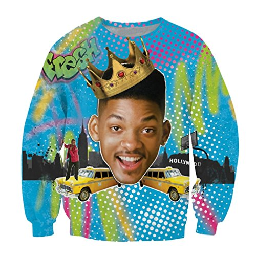 SUNY Women Man Will Smith Fresh Prince of Bel Air vibrant Long Sleeve Sweatshirt (Fresh Prince Of Bel Air Full Cast)