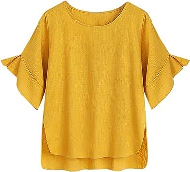 MISSWongg_Camiseta para Mujer Algodón y Lino Cuello Redondo ...