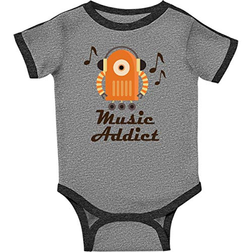 (inktastic - Music Addict Infant Creeper 24 Months Ringer Heather and Smoke 1f1e9)