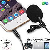 Lavalier Microphone, ZAFFIRO Lapel MIC Clip-on Omnidirectional Professional Condenser Microphone for Iphone, Ipad, Camera, DSLR, PC, Smartphone, Recorder, DV Camcorder, Video Recording, Youtube