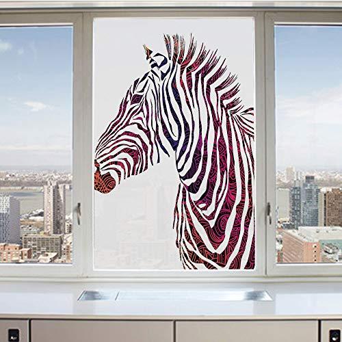 3D Decorative Privacy Window Films,Ornamental Zebra Profile Silhouette Artistic Striped Safari Theme Artwork,No-Glue Self Static Cling Glass Film for Home Bedroom Bathroom Kitchen Office 17.5x36 Inch