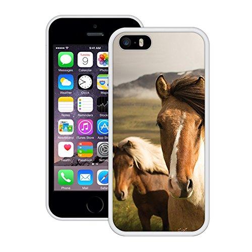 Pferde | Handgefertigt | iPhone 5 5s SE | Weiß Hülle