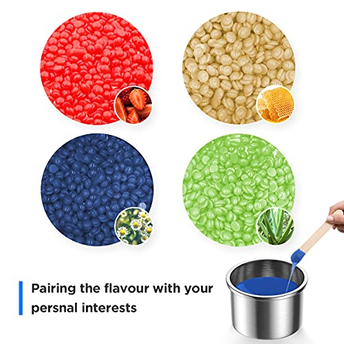 RioRand 4Pack Different Hard Wax Beans with Wax Pot and Wax Applicator Sticks (Style-3)