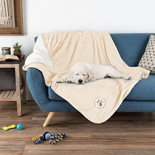 PETMAKER Waterproof Pet Blanket - 60inx50in Soft Plush Throw Protects Couch, Chair, Car, Bed from Spills, Stains or Fur-Machine Washable (Cream)