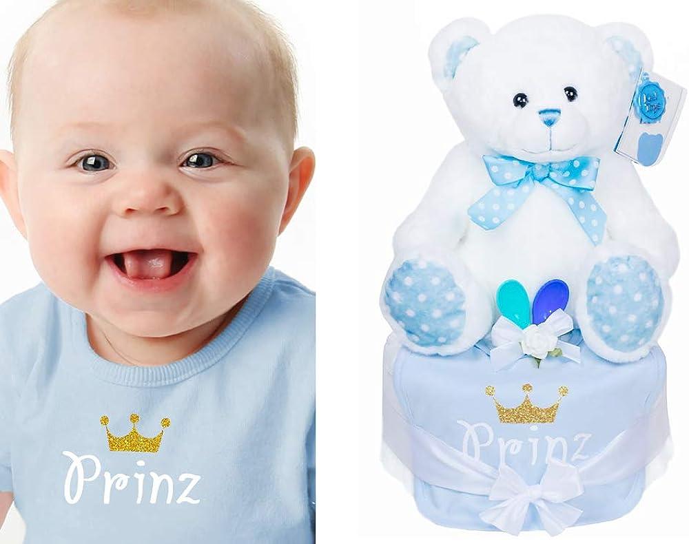 Trend Mama Windeltorte Junge mit gro/ßem Teddyb/är Baby L/ätzchen hochwertig bedruckt Glitzer Krone Prinz 2 Breil/öffel+Gru/ßkarte