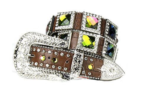 BHW Volcano Ab Crystal Square Concho Rhinestone Buckle Leather Belt Jp Brown (XL)