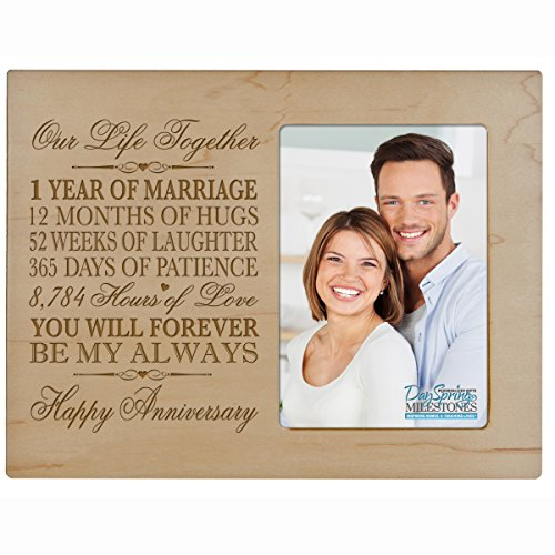 One year anniversary gift her him couple Custom Engraved 1st year wedding celebration for husband wife girlfriend boyfriend photo frame holds 4x6 photo by DaySpring International (Maple)
