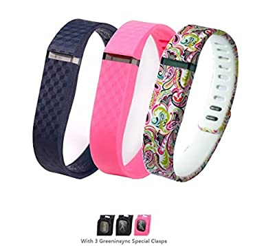 GreenInsync Replacement Accessory Wrist Bands laser style for Fitbit FLEX(No Tracker, Replacement Bands Only) (Large) with Special Clasps