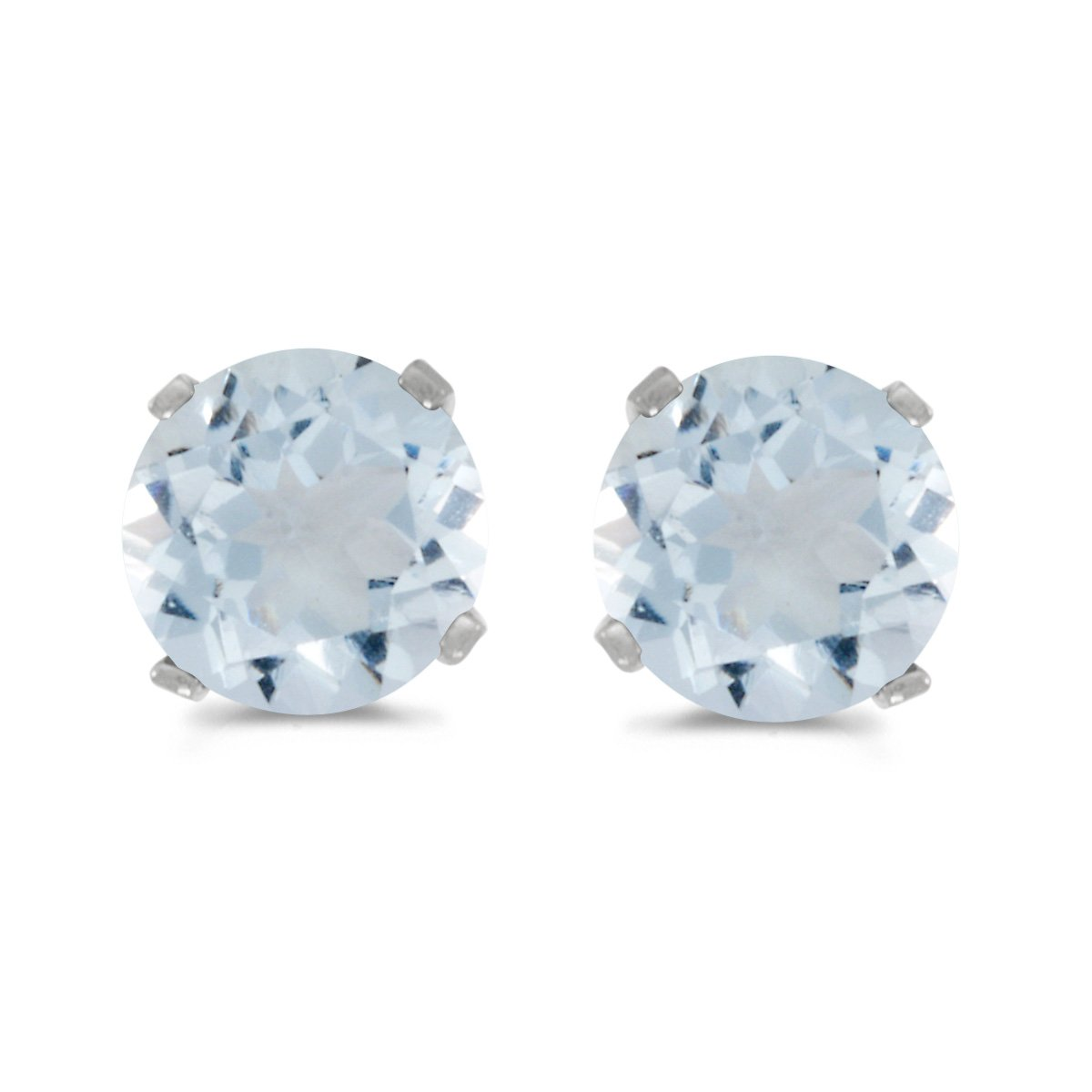 2d336e4f2 Amazon.com: 14k White Gold 5 mm Natural Round Aquamarine Stud Earrings:  March Birthstone Earrings: Jewelry
