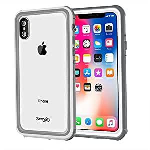 iPhone X Case, Beasyjoy iPhone X Waterproof Case IP68 Certified Wireless Charging Support,Shockproof Dustproof Full Body Protective Phone Cover With Built-in Screen Protector For iPhone 10/iPhone X