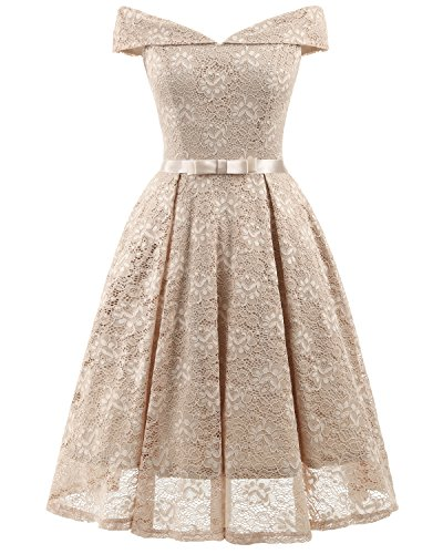 (REMASIKO Womens Lace Bridesmaid V Neck Formal Wedding Party Cocktail Midi Dress Beige Large)