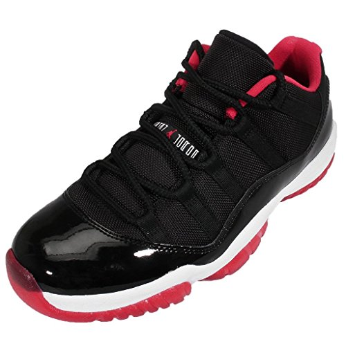 Jordan Men's Air 11 Retro Low Black/True Red/White Leather Athletic Shoes 11 D(M) US