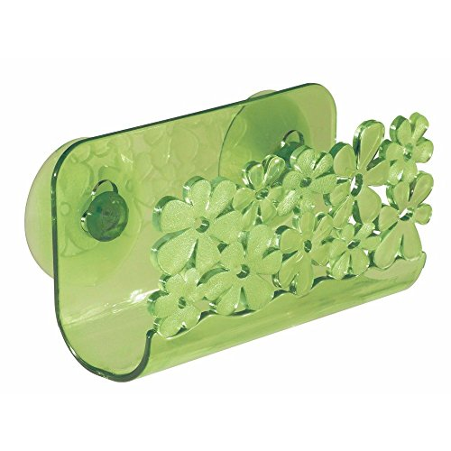 InterDesign Blumz Kitchen Sink Suction Holder for Sponges, Scrubbers, Soap - Green (Sink Interdesign Blumz)