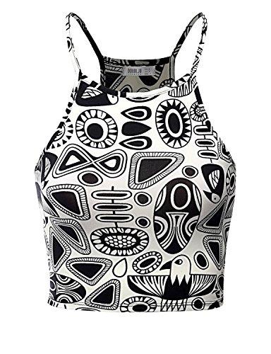 Doublju Fashion Print Soft Fabric Sports Wear PRINT69 Crop Top,S