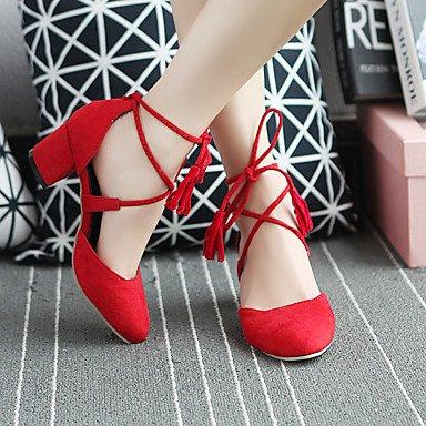 LvYuan Mujer-Tacón Robusto-Otro-Sandalias-Oficina y Trabajo Vestido Informal-PU-Negro Rojo Gris gray