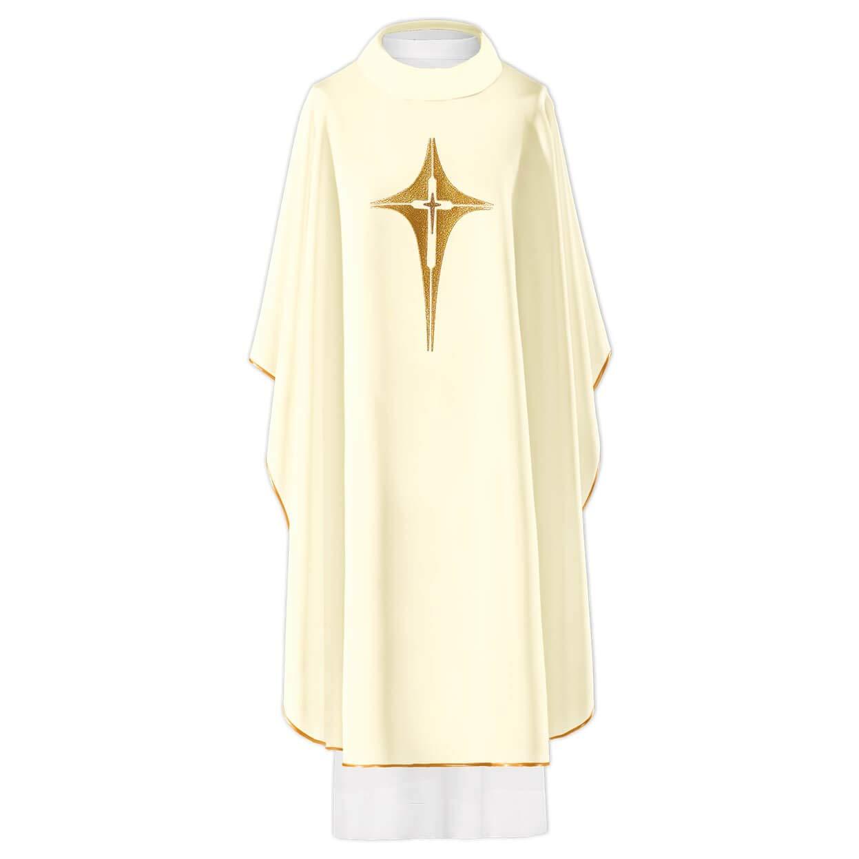 Chaleco de iglesia gótica con cruz dorada, color blanco y ...