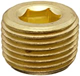 "Anderson Metals 56115 Brass Pipe Fitting, Hex Drive Countersunk Plug, 3/8"" NPT Male Pipe"