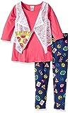 Youngland Girls ''PINK PIZZA EMOJI'' Size 4-12 Top Vest Pant & Purse Set (4)