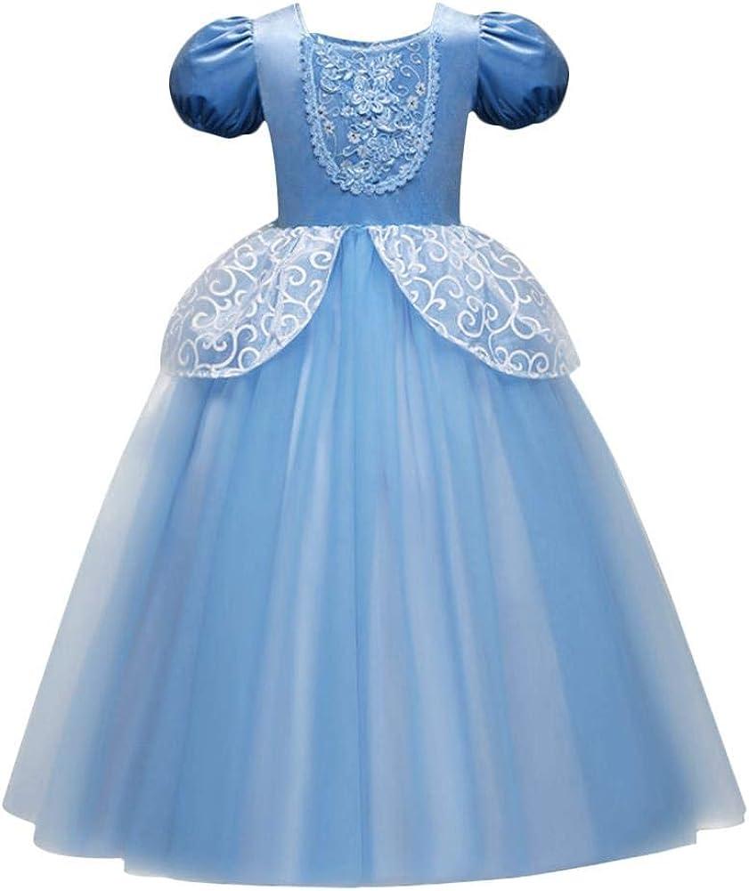 OwlFay Disfraz de Cenicienta Parte Niñas Maxi Vestido de Princesa Cuento de Hadas Cosplay Halloween Navidad Fiesta Cumpleaños Ceremonia Carnaval Traje De Fotografía