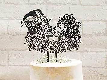 Rockabilly Wedding Cake Topper Sugar Skull Cake Topper