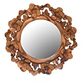 NOVICA Floral Glass Wood Wall Mounted Mirror, Brown 'Jepun Reflection' For Sale